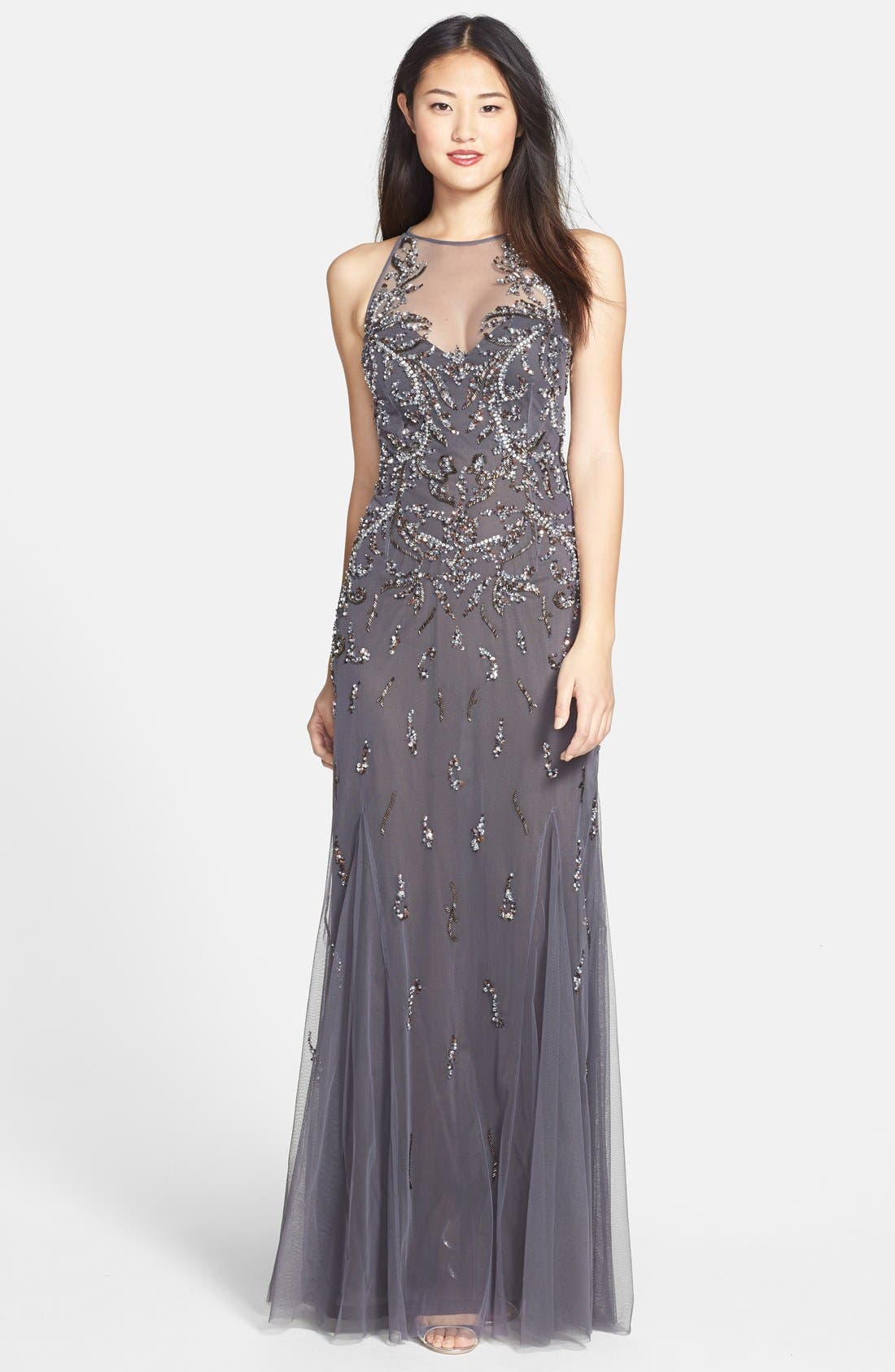 Alternate Image 1 Selected - Aidan Mattox Embellished Mesh Gown