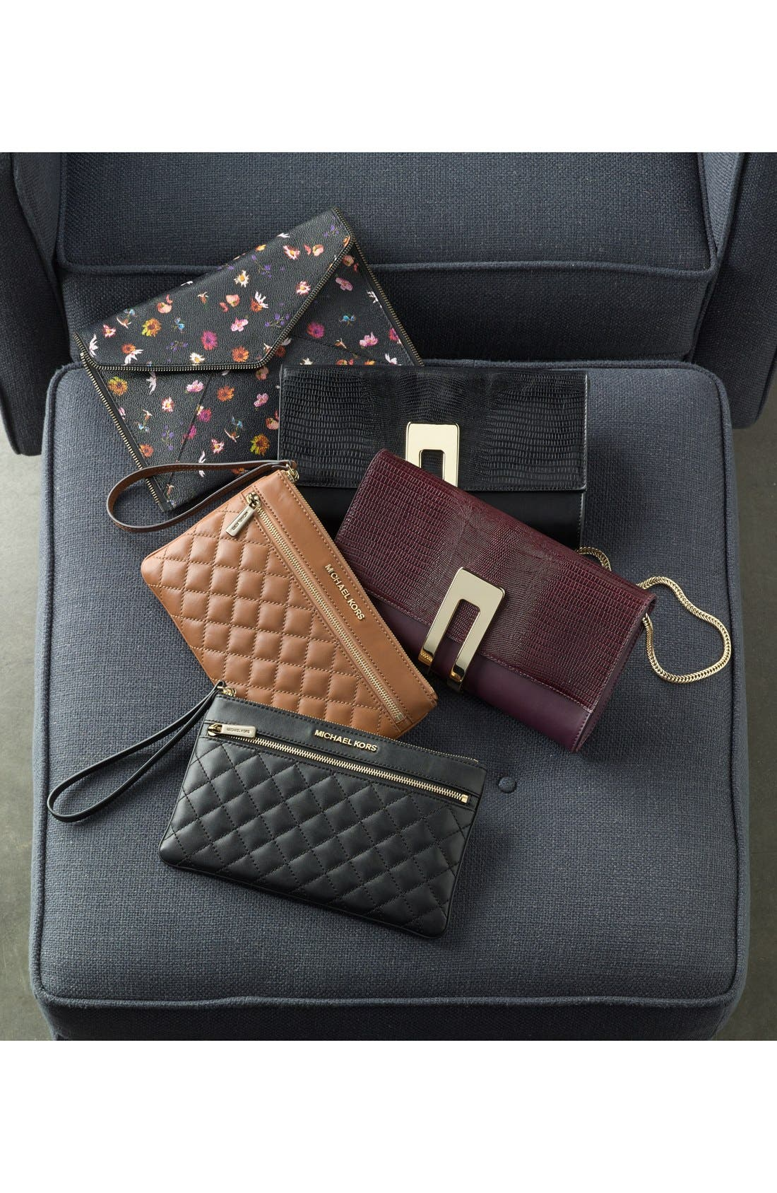 Alternate Image 5  - MICHAEL Michael Kors 'Selma' Quilted Leather Zip Clutch