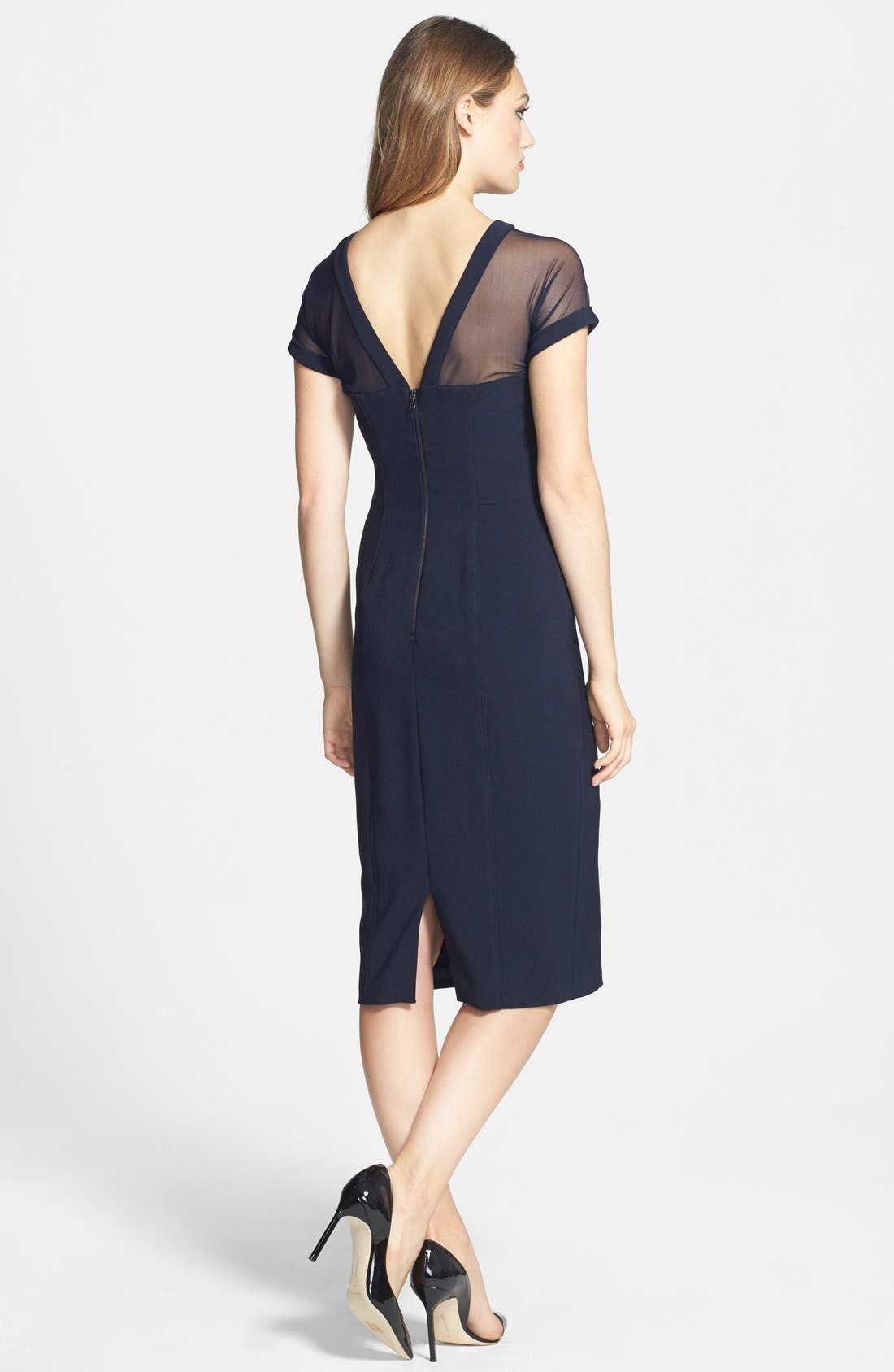 Alternate Image 2  - Maggy London Illusion Yoke Crepe Sheath Dress (Regular & Petite)