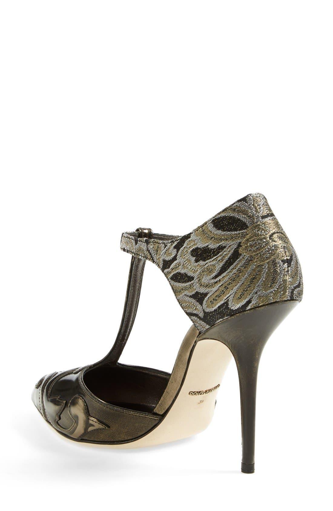 Alternate Image 2  - Dolce&Gabbana Jacquard Pointy Toe T-Strap Pump (Women)