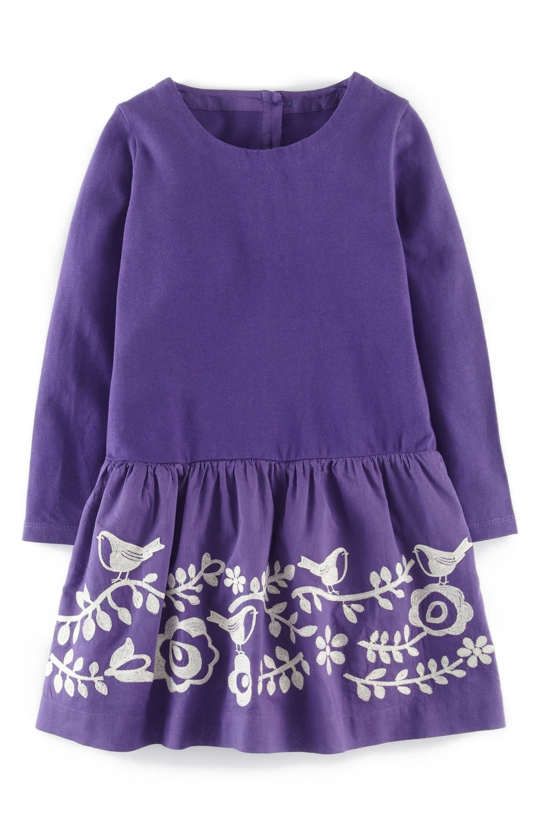 Main Image - Mini Boden Embroidered Folk Dress (Toddler Girls, Little Girls & Big Girls)