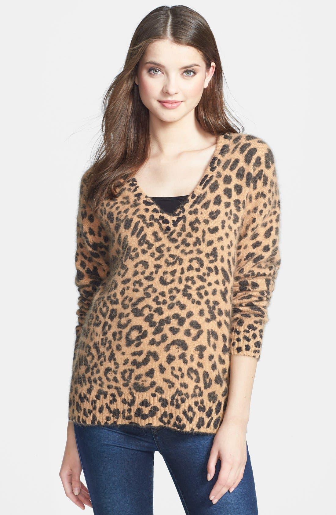 Alternate Image 1 Selected - MICHAEL Michael Kors Leopard Print V-Neck Sweater