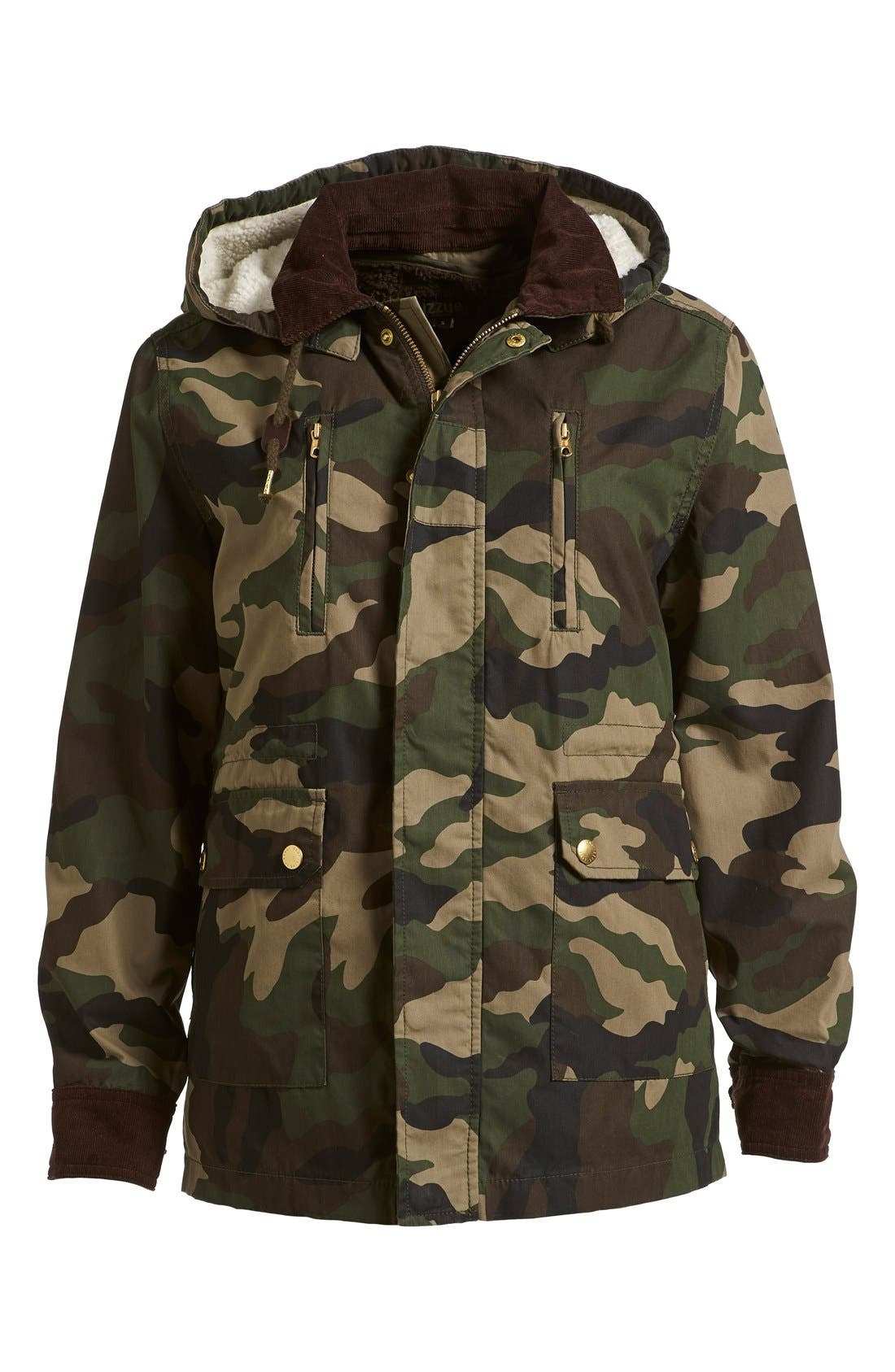Alternate Image 1  - izzue Hooded Camouflage Jacket (Women)