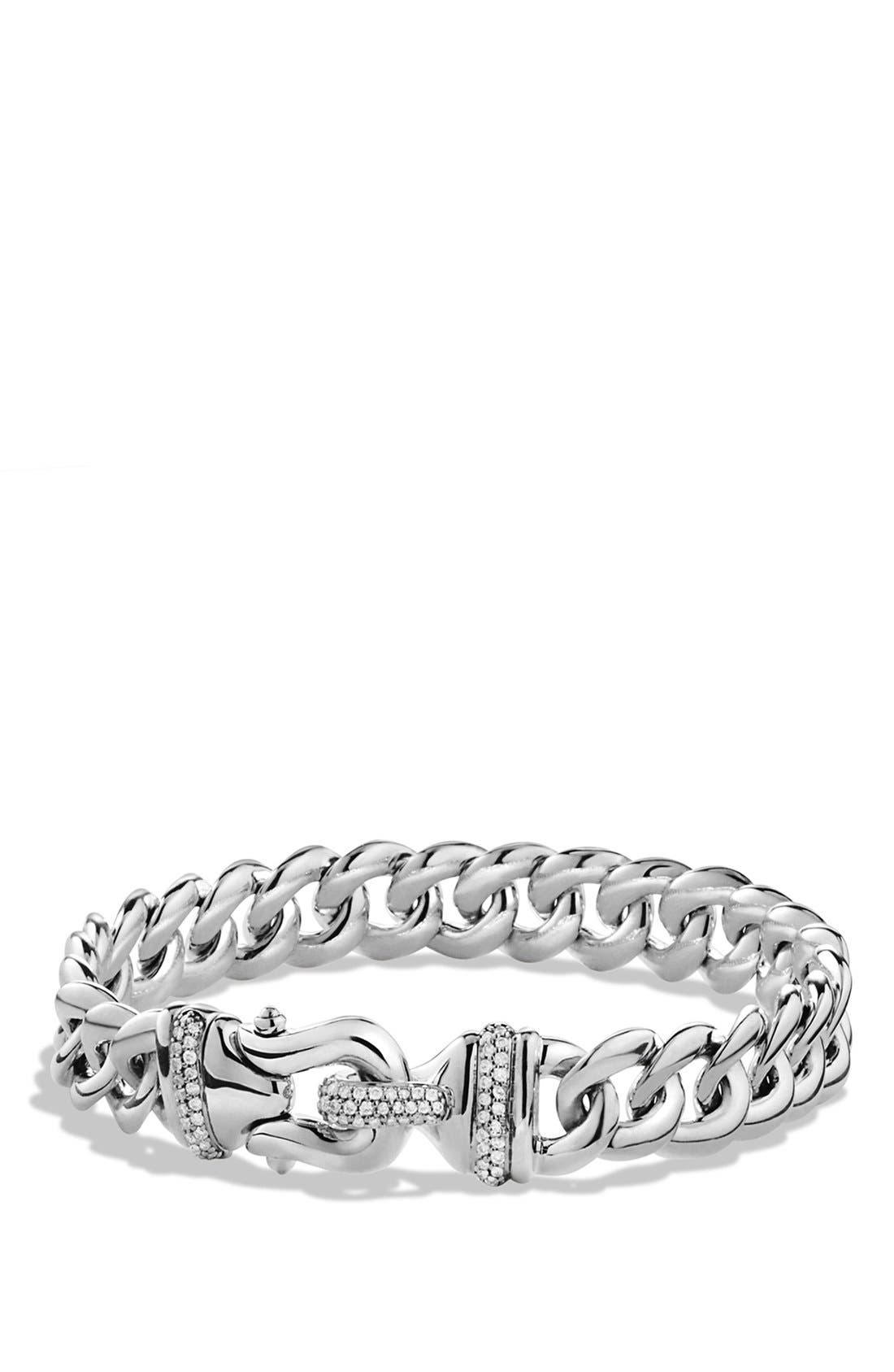 Alternate Image 1 Selected - David Yurman 'Buckle' Single-Row Bracelet with Diamonds