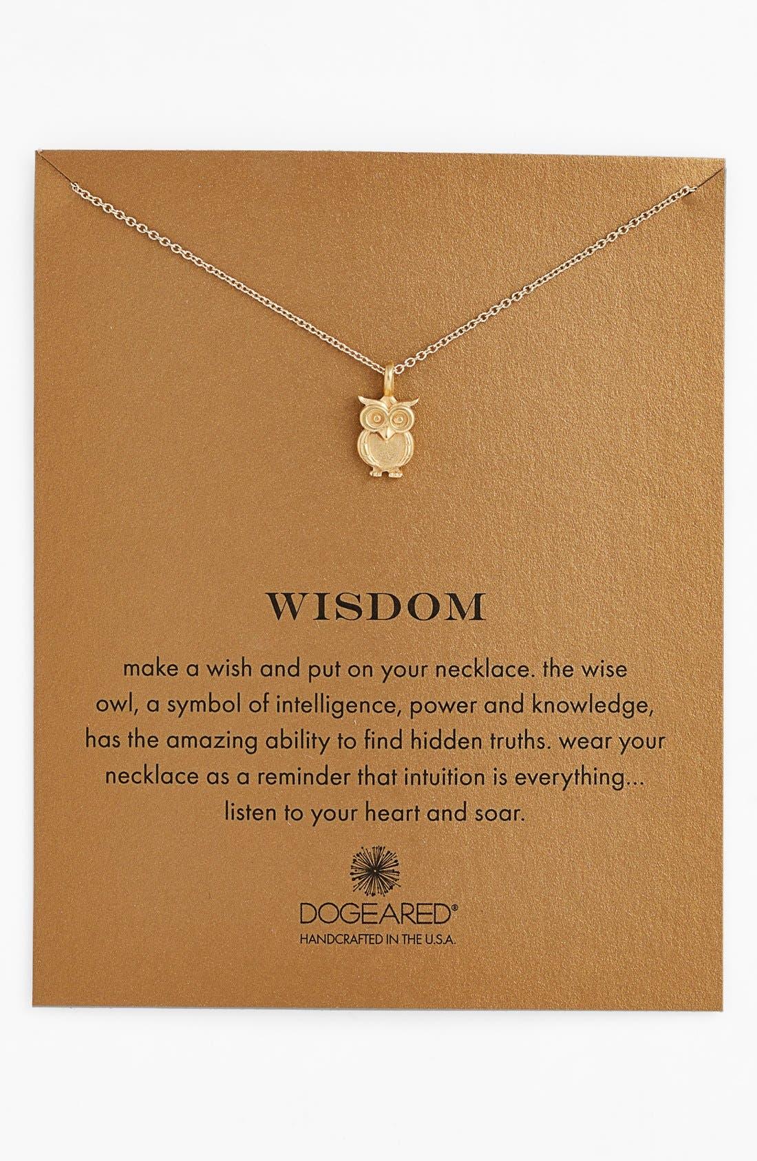 Main Image - Dogeared 'Reminder - Wisdom' Boxed Owl Pendant Necklace