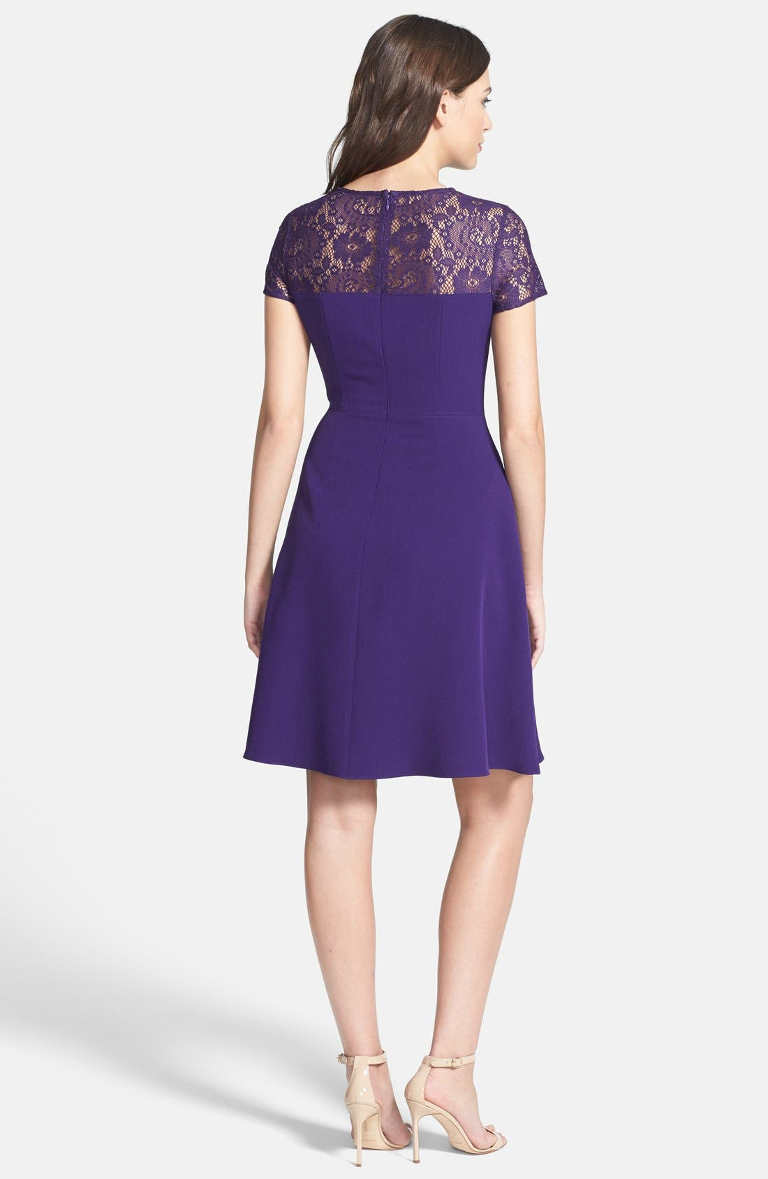 Alternate Image 2  - Adrianna Papell Lace & Crepe Fit & Flare Dress