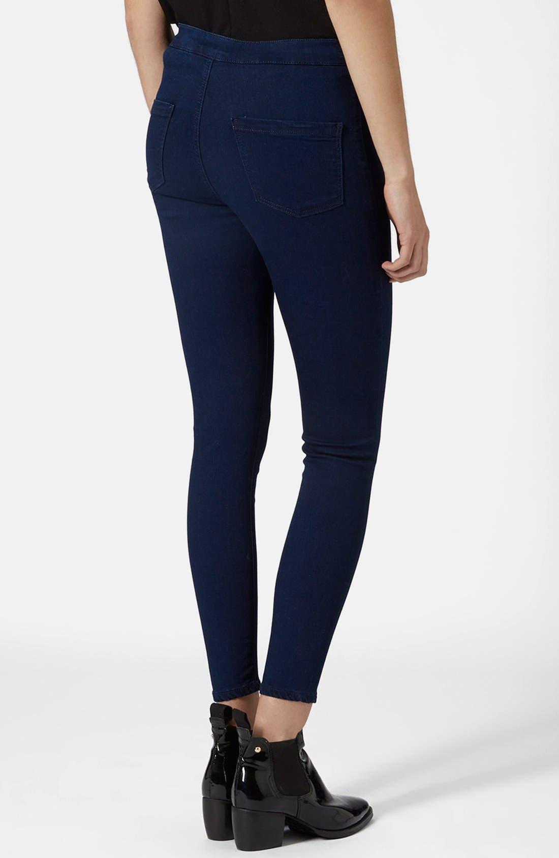 Alternate Image 2  - Topshop Moto 'Joni' High Rise Jeans (Blue) (Petite)