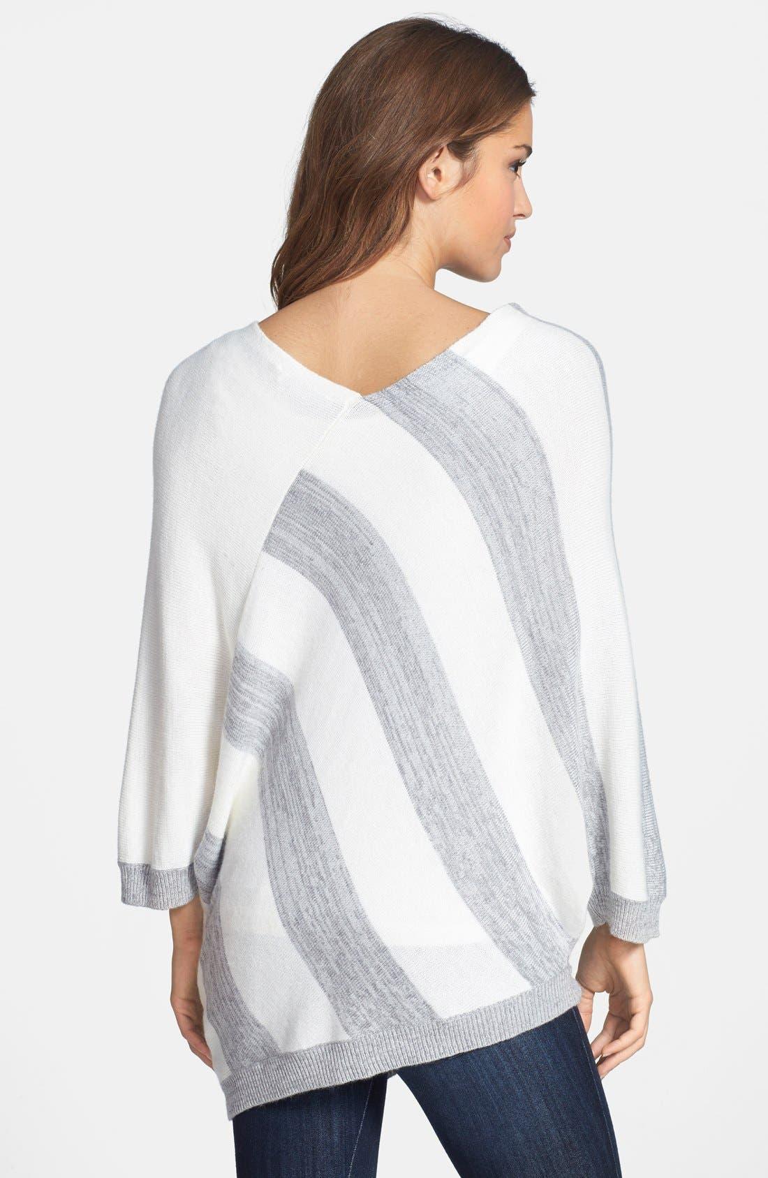 Alternate Image 2  - DKNYC Stripe Asymmetrical V-Neck Pullover