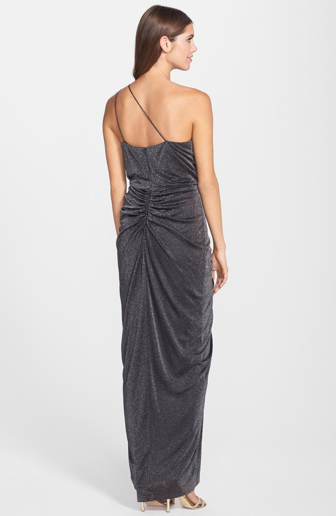 Alternate Image 2  - Aidan by Aidan Mattox One Shoulder Metallic Knit Gown