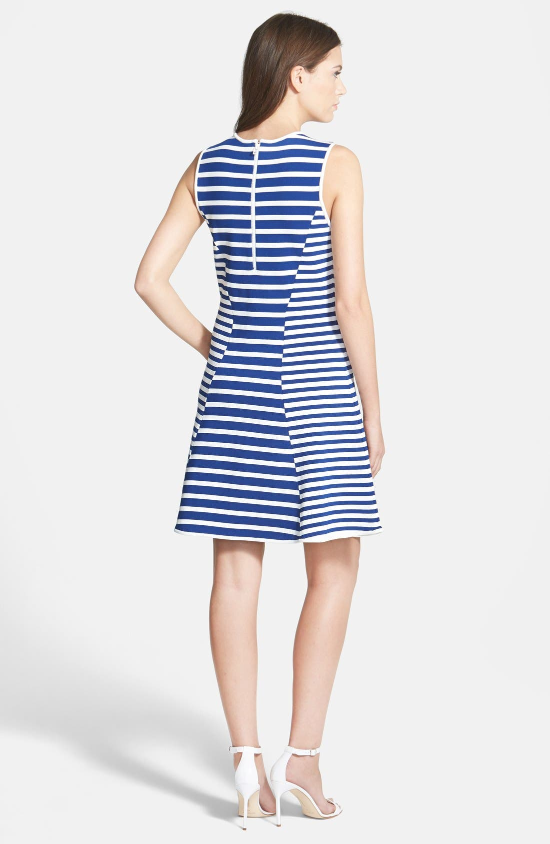 Alternate Image 2  - Pink Tartan Stripe Fit & Flare Dress