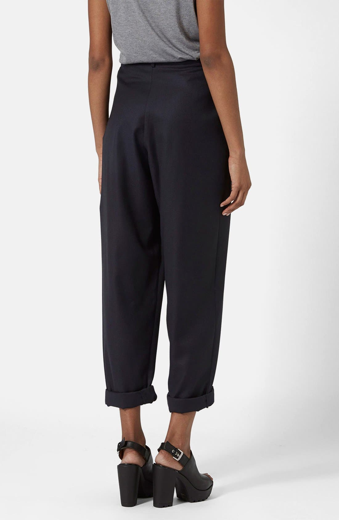 Alternate Image 2  - Topshop Boutique Slouchy Roll-Up Trousers