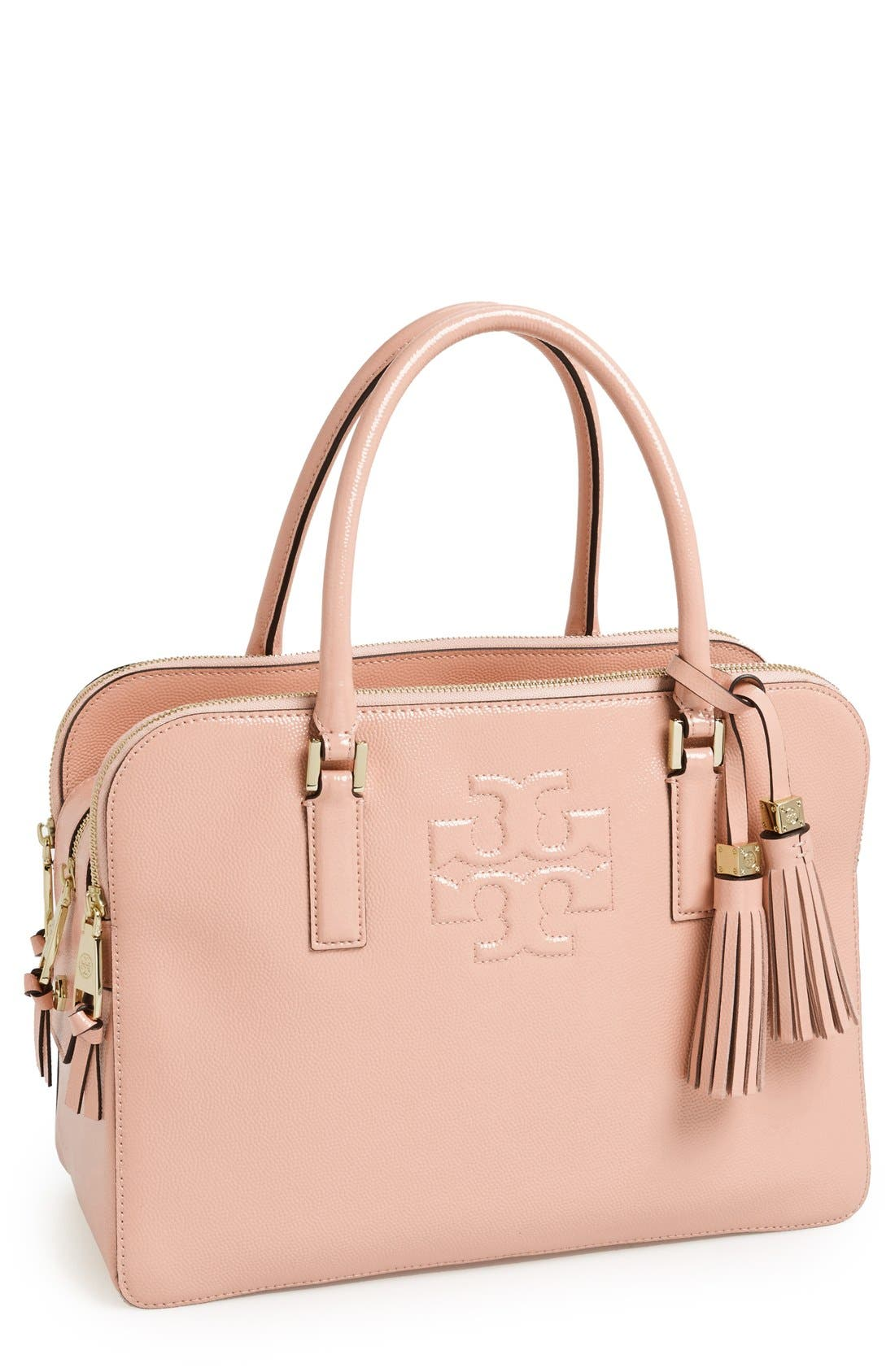 Main Image - Tory Burch 'Thea' Patent Leather Triple Zip Satchel