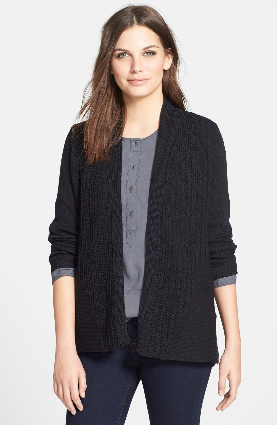 Alternate Image 1 Selected - Eileen Fisher Textured Wool Cardigan (Petite)