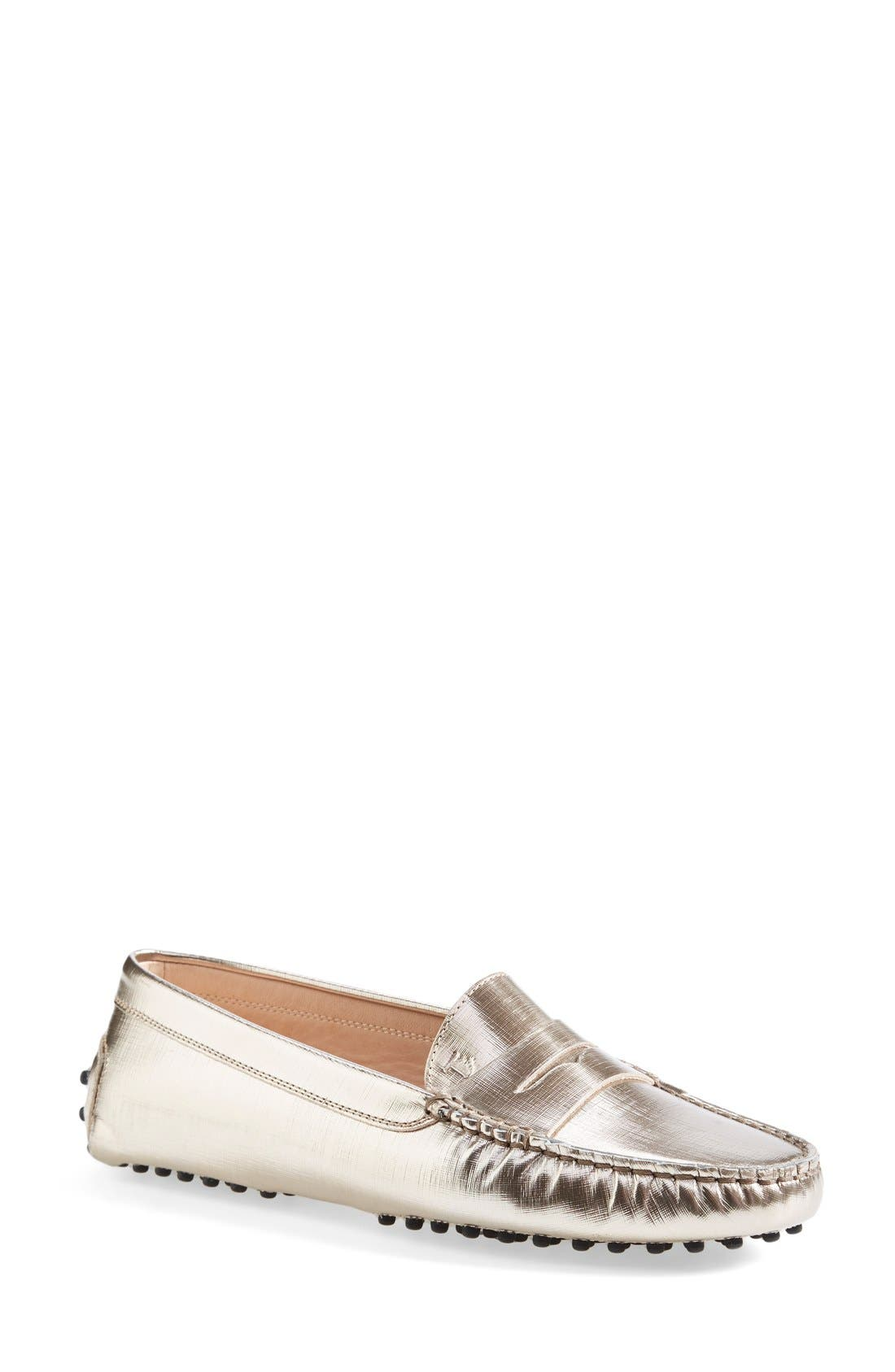 Alternate Image 1 Selected - Tod's 'Gommini' Metallic Leather Penny Loafer
