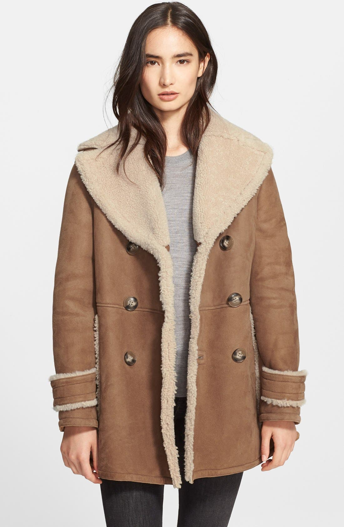 Main Image - Burberry Brit 'Drakefield' Double Breasted Genuine Shearling Coat