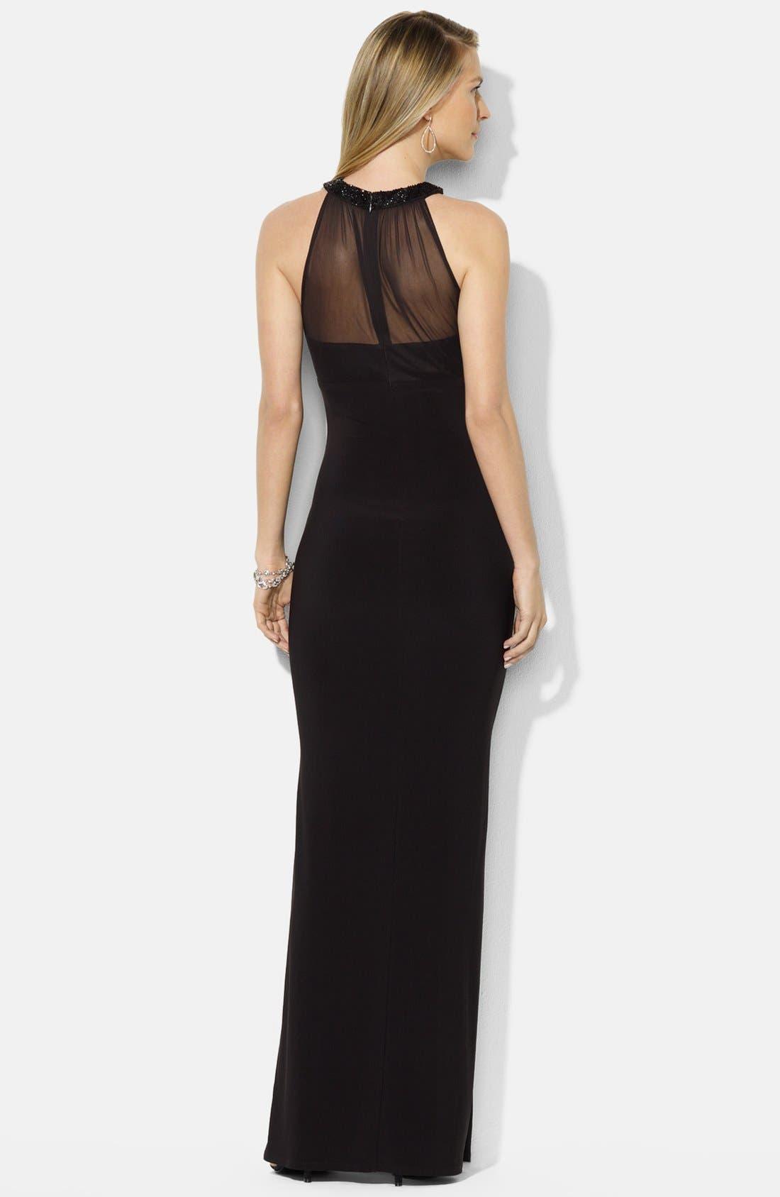 Alternate Image 2  - Lauren Ralph Lauren Embellished Mesh & Jersey Gown (Petite)