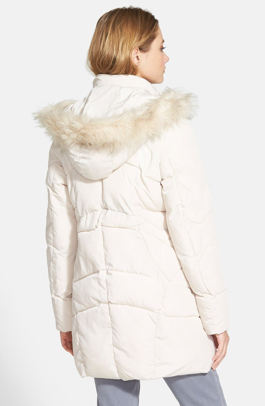 Alternate Image 2  - Steve Madden Faux Fur Trim Hooded Quilted Coat
