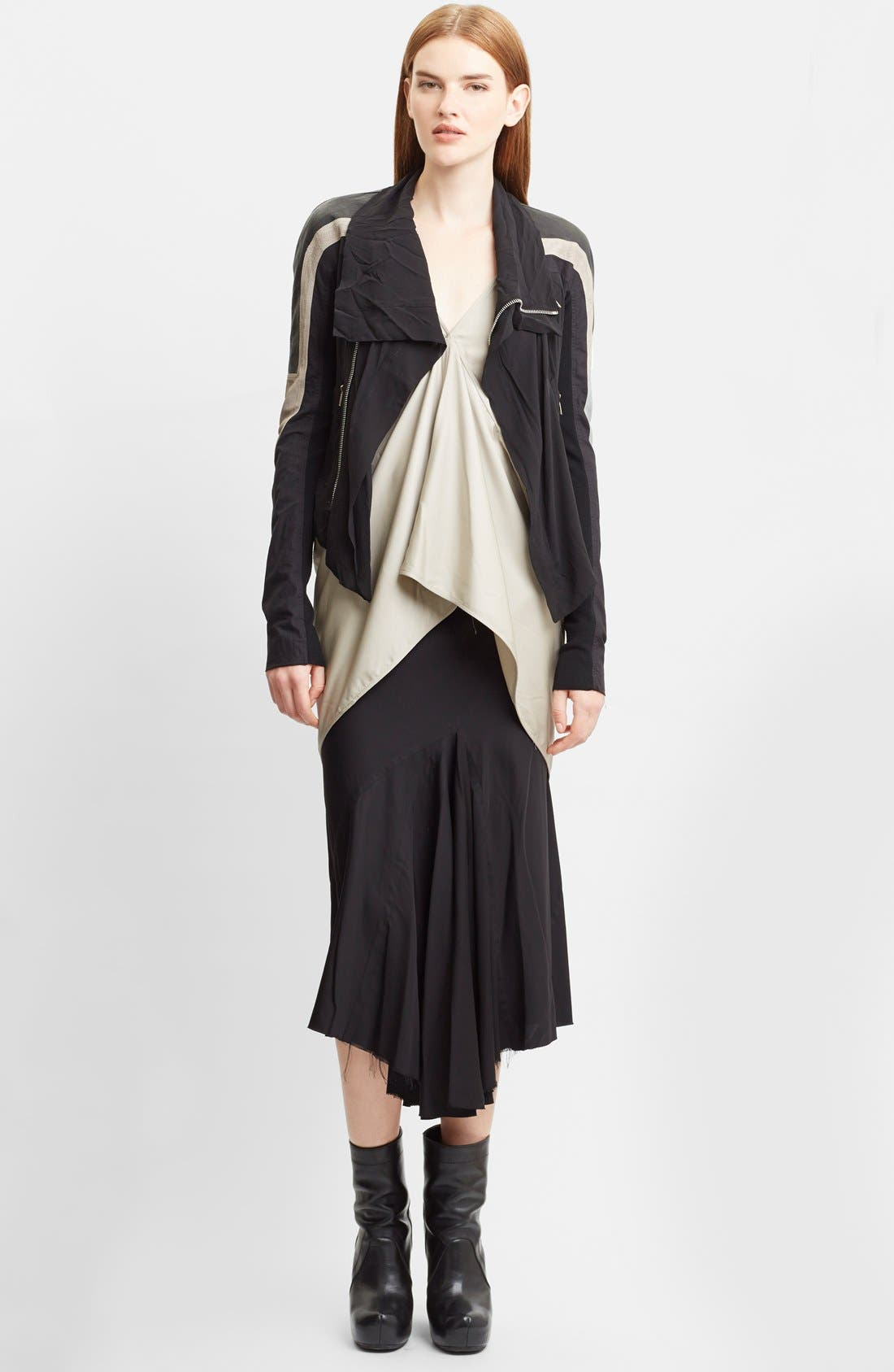 Alternate Image 3  - Rick Owens Mixed Silk Georgette & Leather Moto Jacket