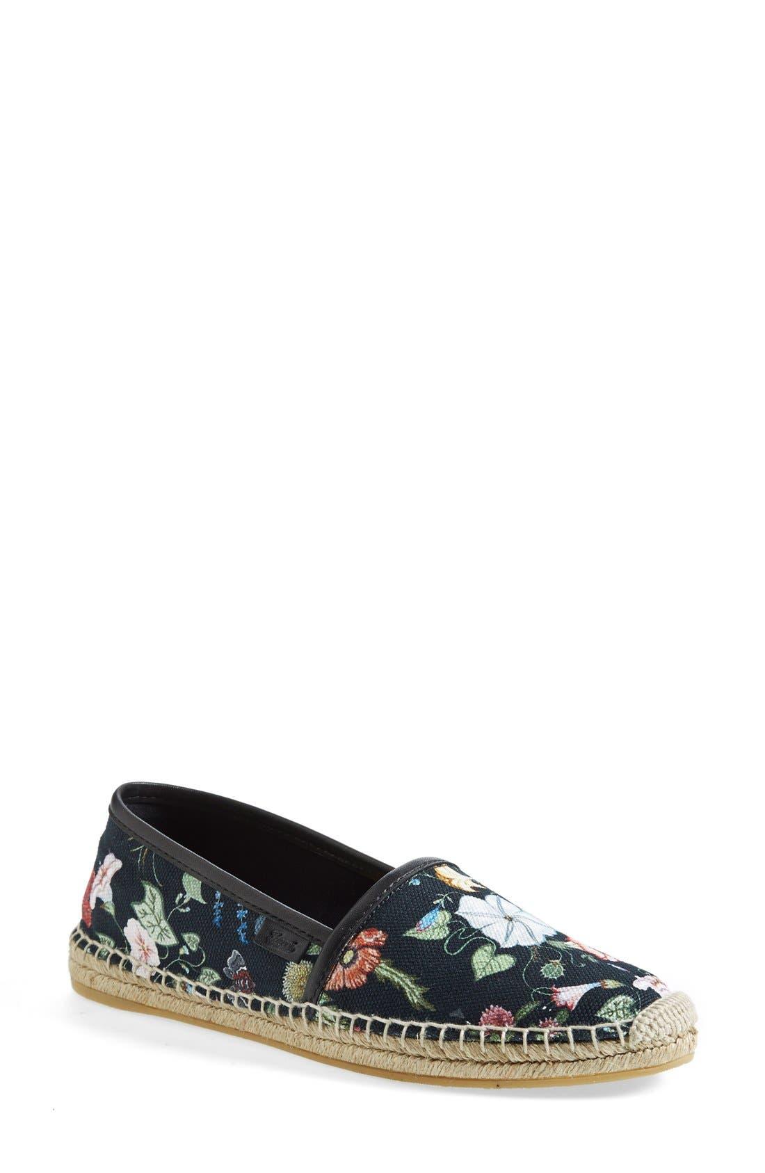 Alternate Image 1 Selected - Gucci 'Pilar' Floral Print Espadrille Flat
