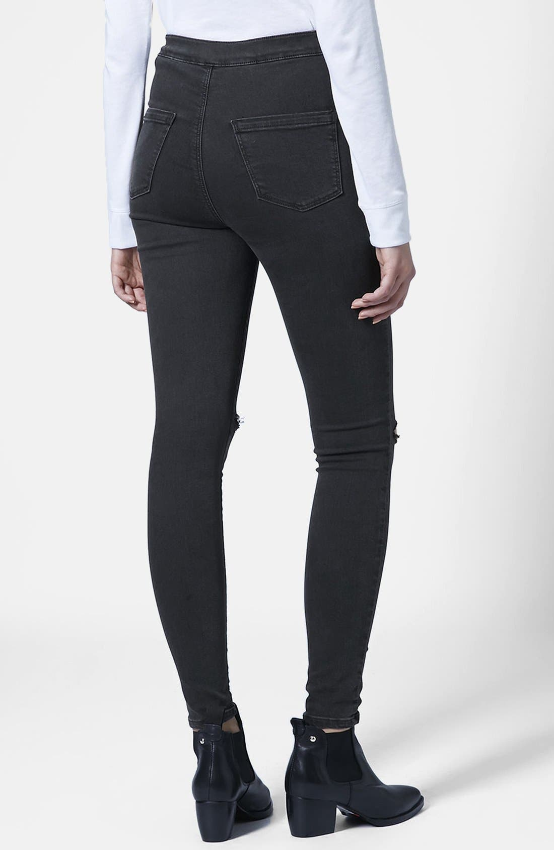 Alternate Image 2  - Topshop 'Joni' Ripped Skinny Jeans (Black)