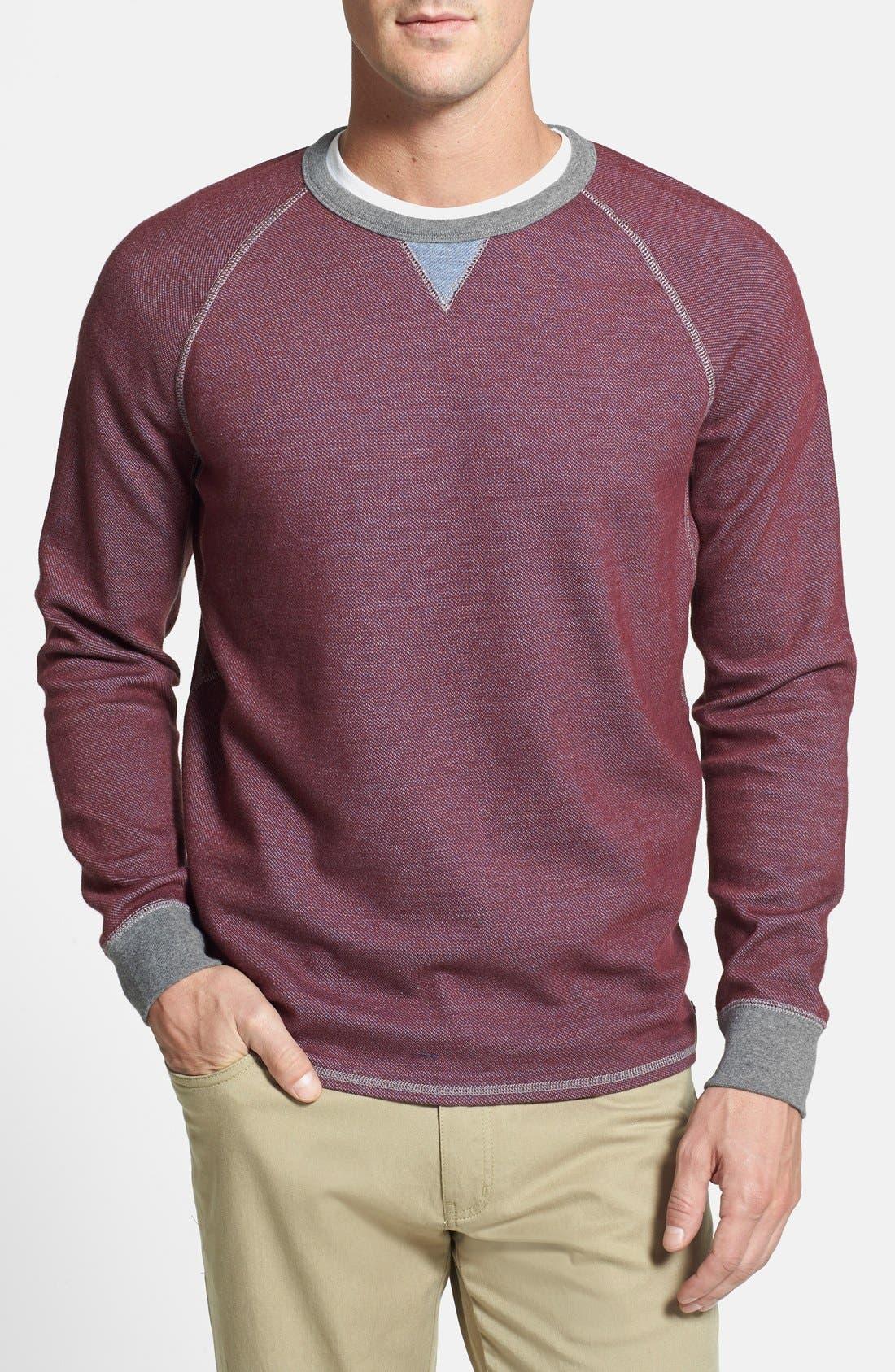 Main Image - Tommy Bahama Denim 'Bob Twillin' Island Modern Fit Reversible Raglan Sweatshirt