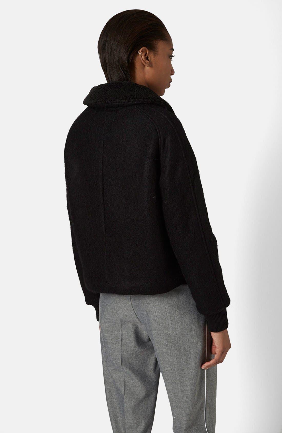 Alternate Image 2  - Topshop Faux Shearling Harrington Jacket
