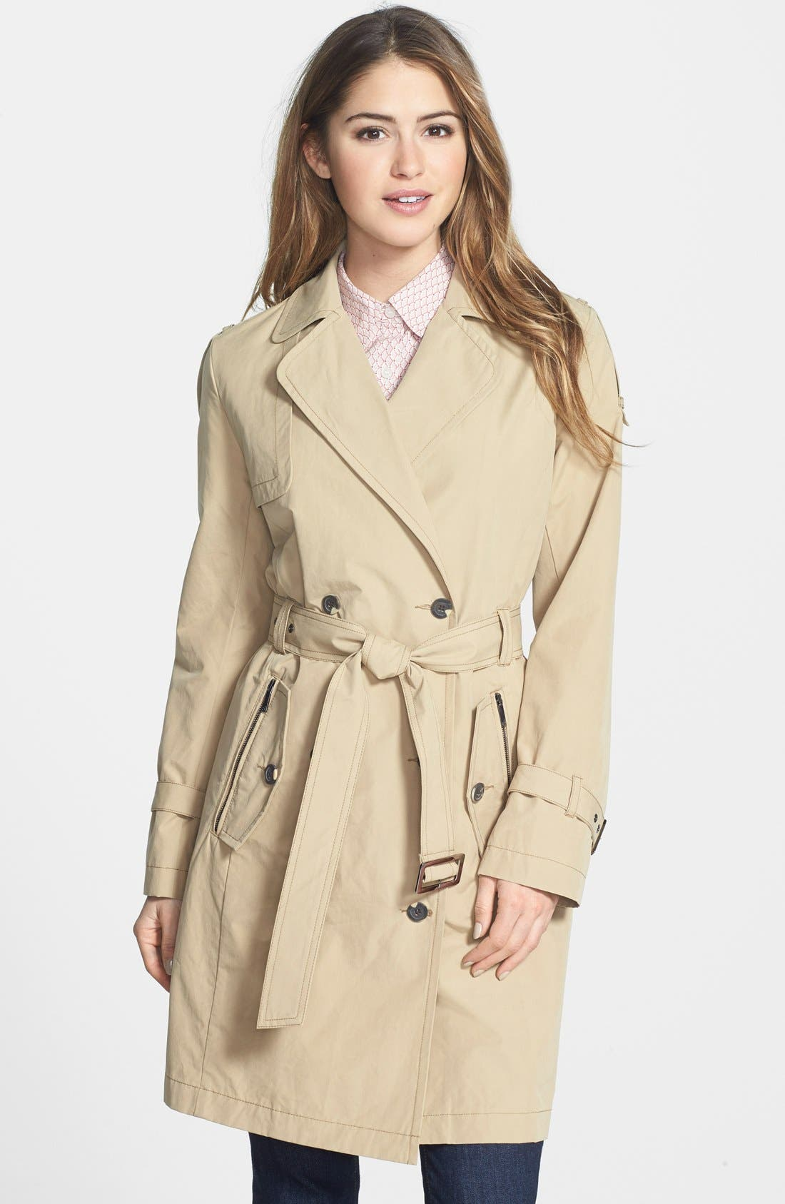 Main Image - AB Belted Waxed Cotton Trench Coat