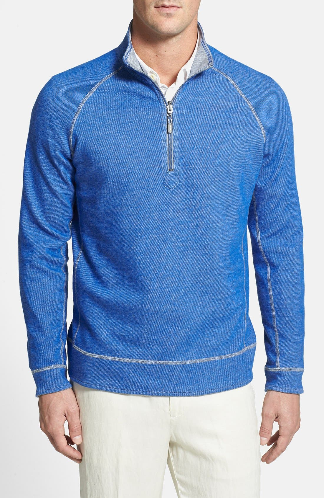 Main Image - Tommy Bahama Denim 'Bob Twillin' Island Modern Fit Reversible Half Zip Sweatshirt