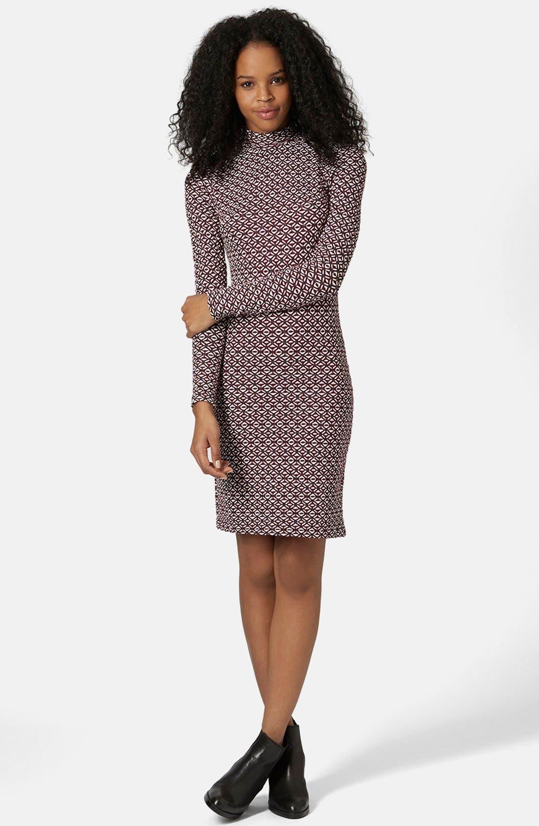 Main Image - Topshop Mock Neck Body-Con Dress (Regular & Petite)