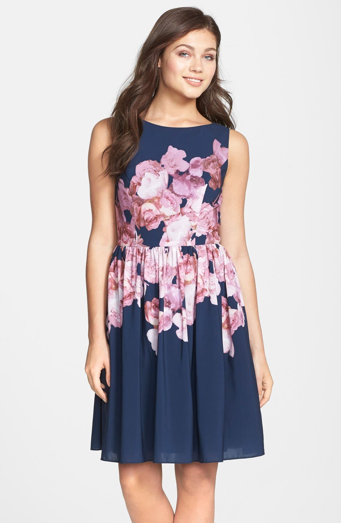 Main Image - Adrianna Papell Floral Print Chiffon Fit & Flare Dress (Regular & Petite)