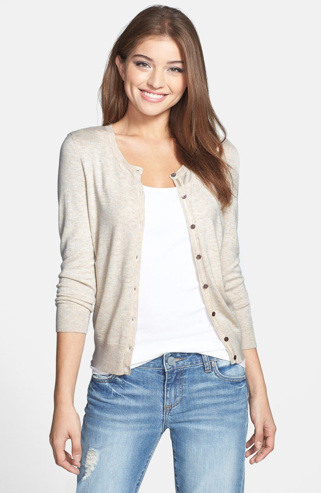 Halogen® Three Quarter Sleeve Cardigan (Regular & Petite)