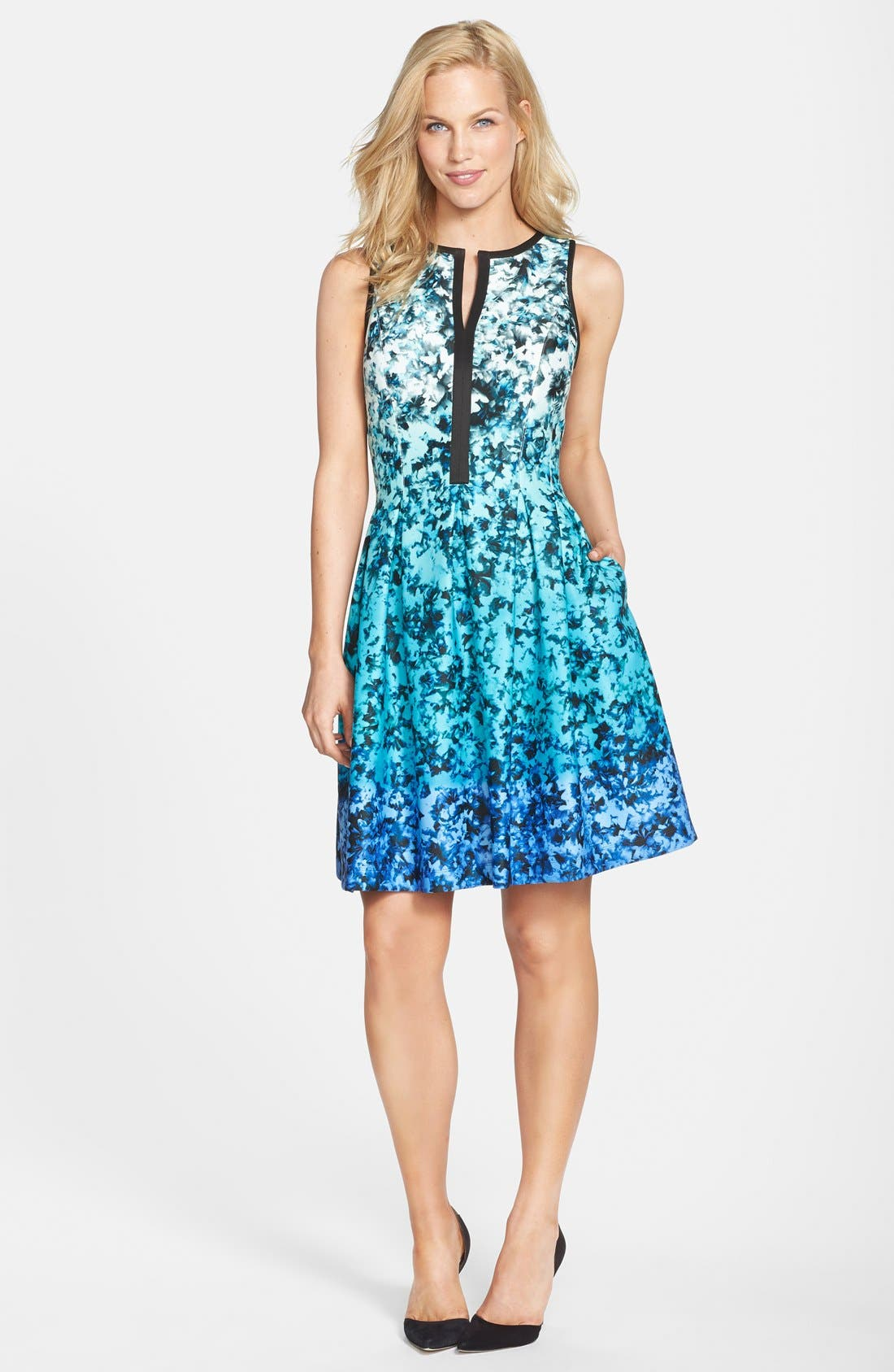 Alternate Image 3  - Vince Camuto Ombré Floral Print Sleeveless Fit & Flare Dress (Regular & Petite)
