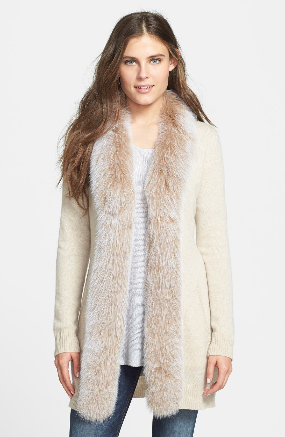 Main Image - Sofia Cashmere Genuine Fox Fur Trim Cashmere Cardigan