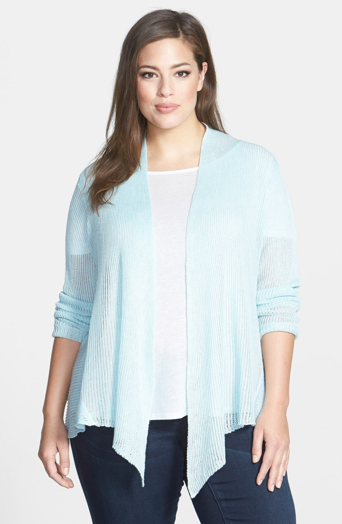 Alternate Image 1 Selected - Eileen Fisher Shaped Linen Cardigan (Plus Size)