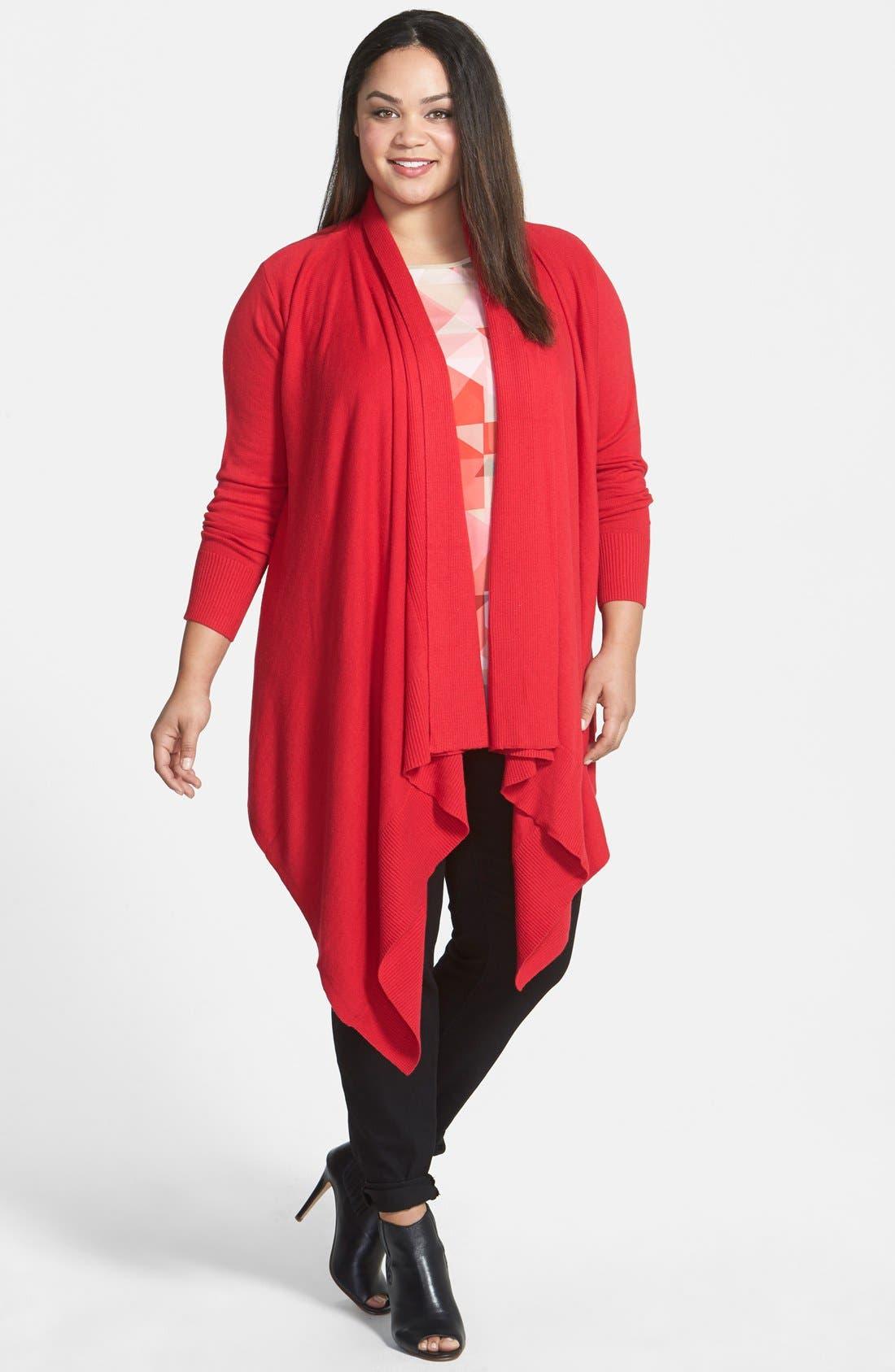 Alternate Image 1 Selected - DKNYC Oversize Drape Front Cardigan (Plus Size)