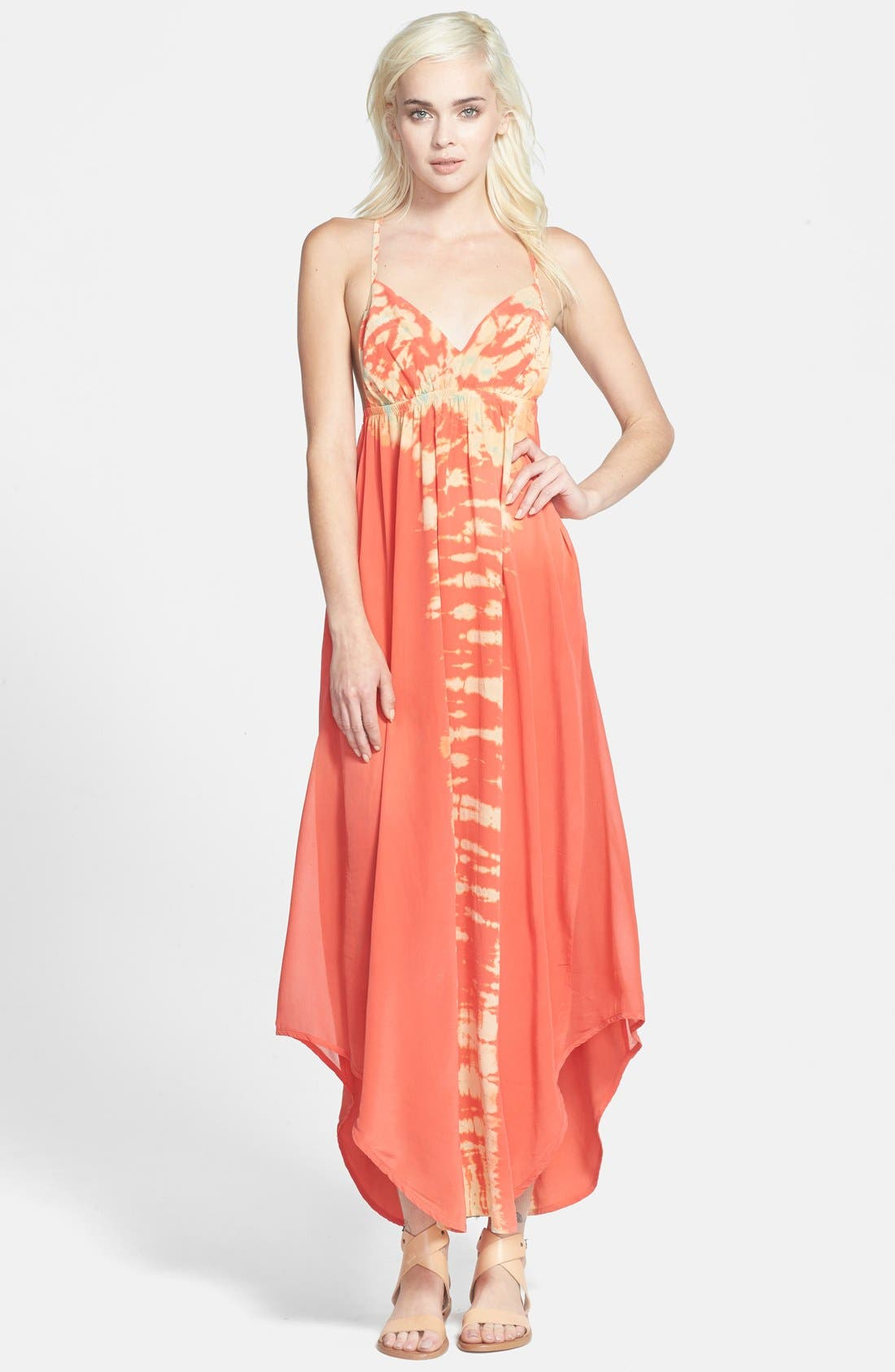 Alternate Image 1 Selected - Gypsy 05 Strappy Tie-Dye Maxi Dress