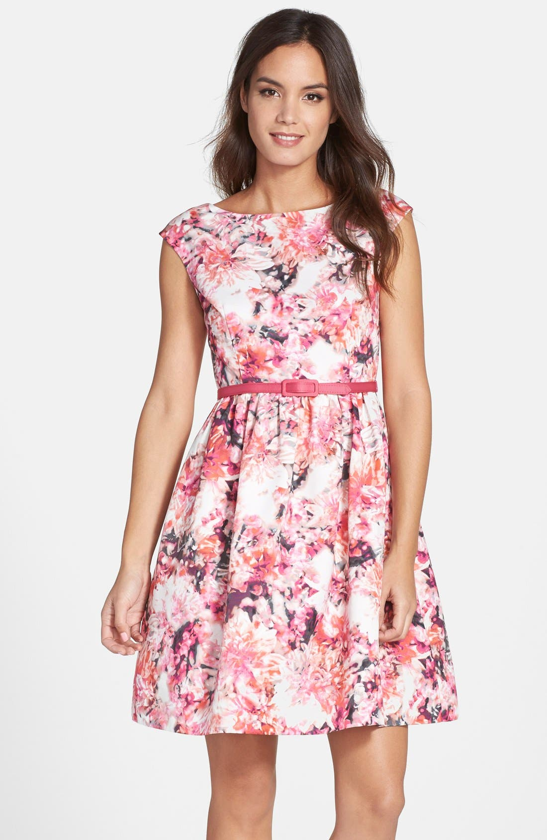 Main Image - Eliza J Belted Print Faille Fit & Flare Dress (Regular & Petite)