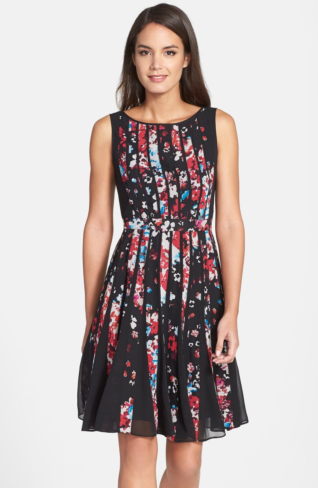 Alternate Image 1 Selected - Adrianna Papell Floral Print Chiffon Fit & Flare Dress