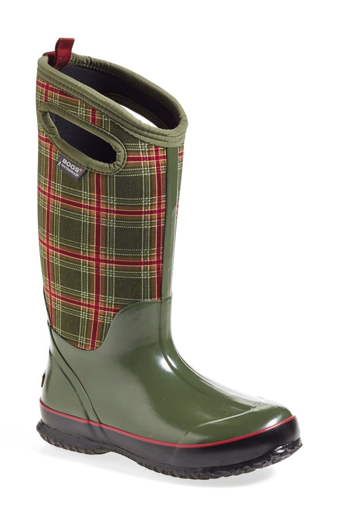 Main Image - Bogs 'Classic Winter Plaid' Tall Waterproof Snow Boot with Cutout Handles (Women)