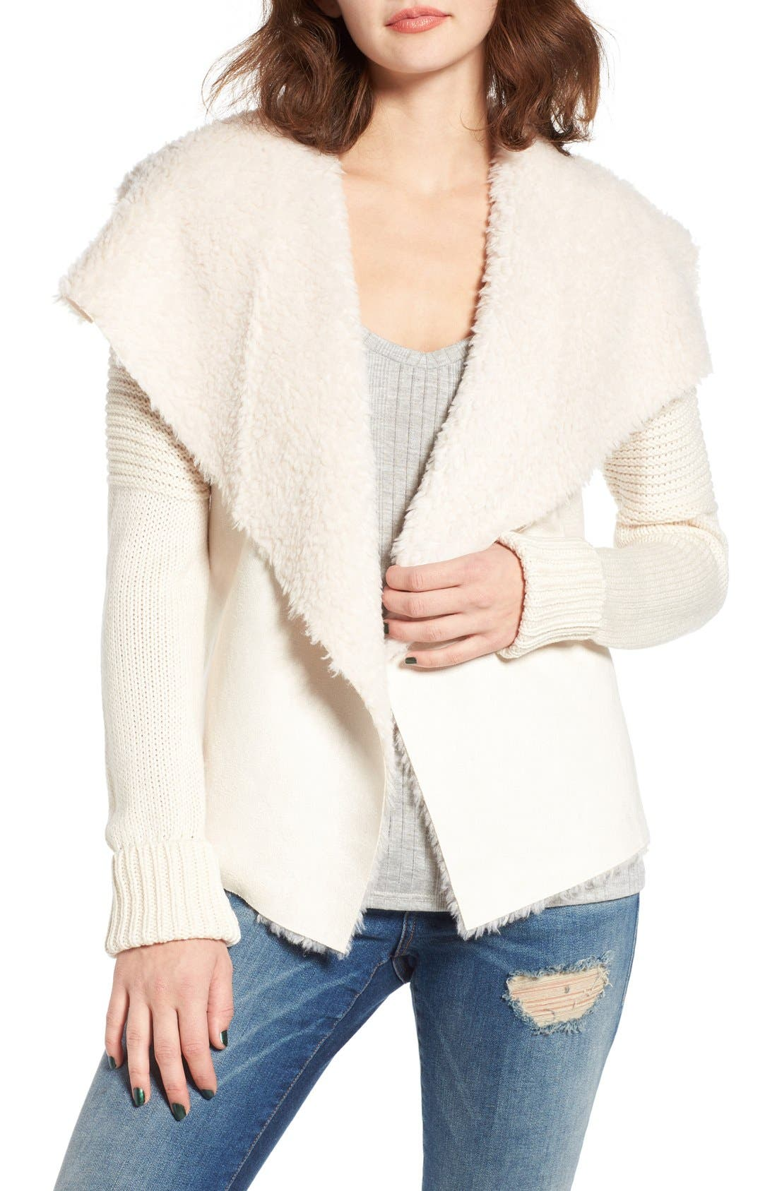 COFFEE SHOP Knit Jacket with Faux Shearling Trim