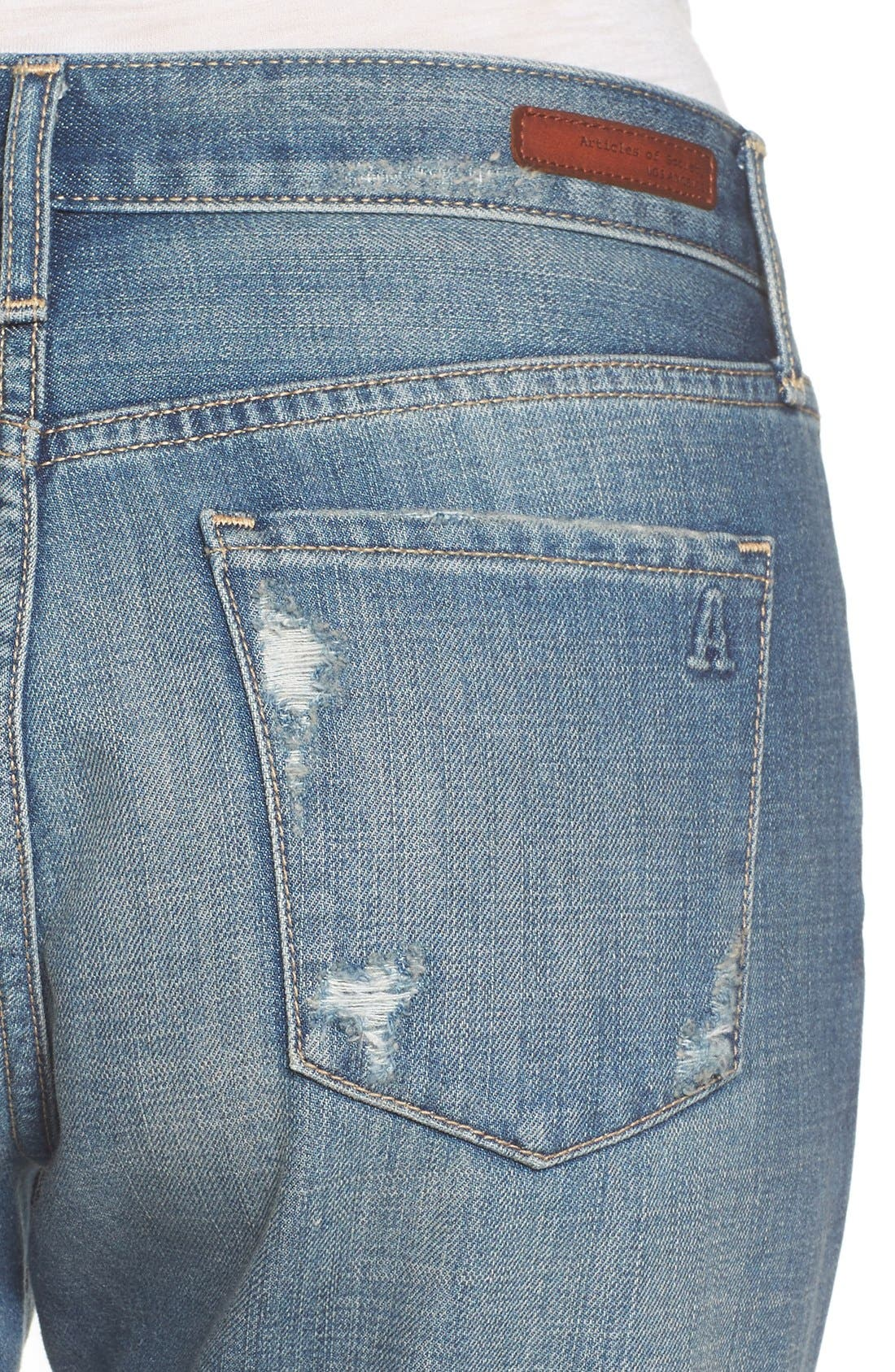 Alternate Image 4  - Articles of Society Janis Ripped Boyfriend Jeans (Fisk)