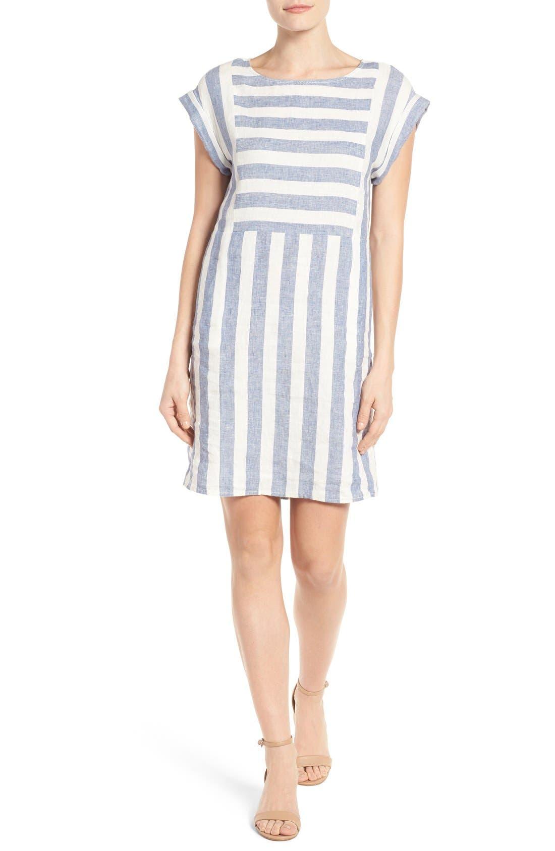 Alternate Image 1 Selected - Caslon® Stripe Linen Shift Dress (Regular & Petite)
