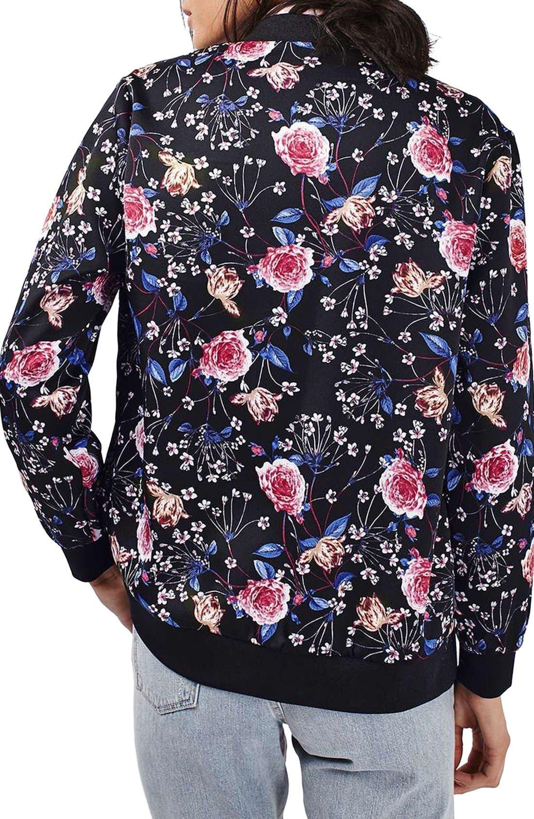 Alternate Image 3  - Topshop Floral Print Bomber Jacket