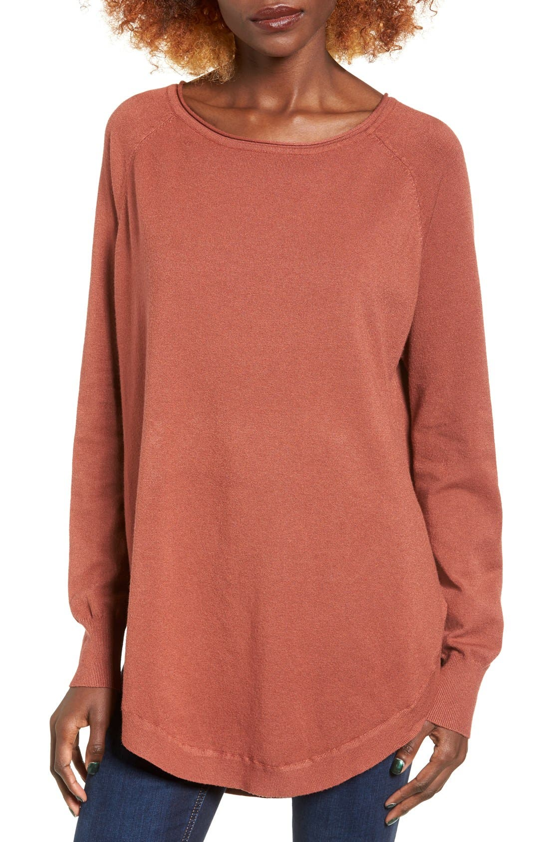 Alternate Image 1 Selected - Dreamers by Debut Rounded Drape Hem Pullover