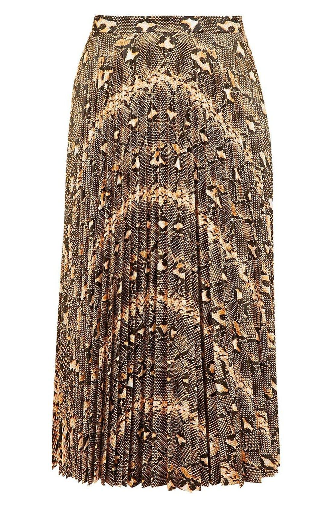 Alternate Image 4  - Topshop Snake Print Pleated Midi Skirt