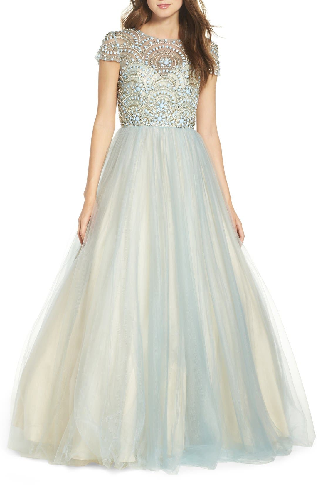 Alternate Image 1 Selected - Mac Duggal Beaded Bodice Tulle Ballgown