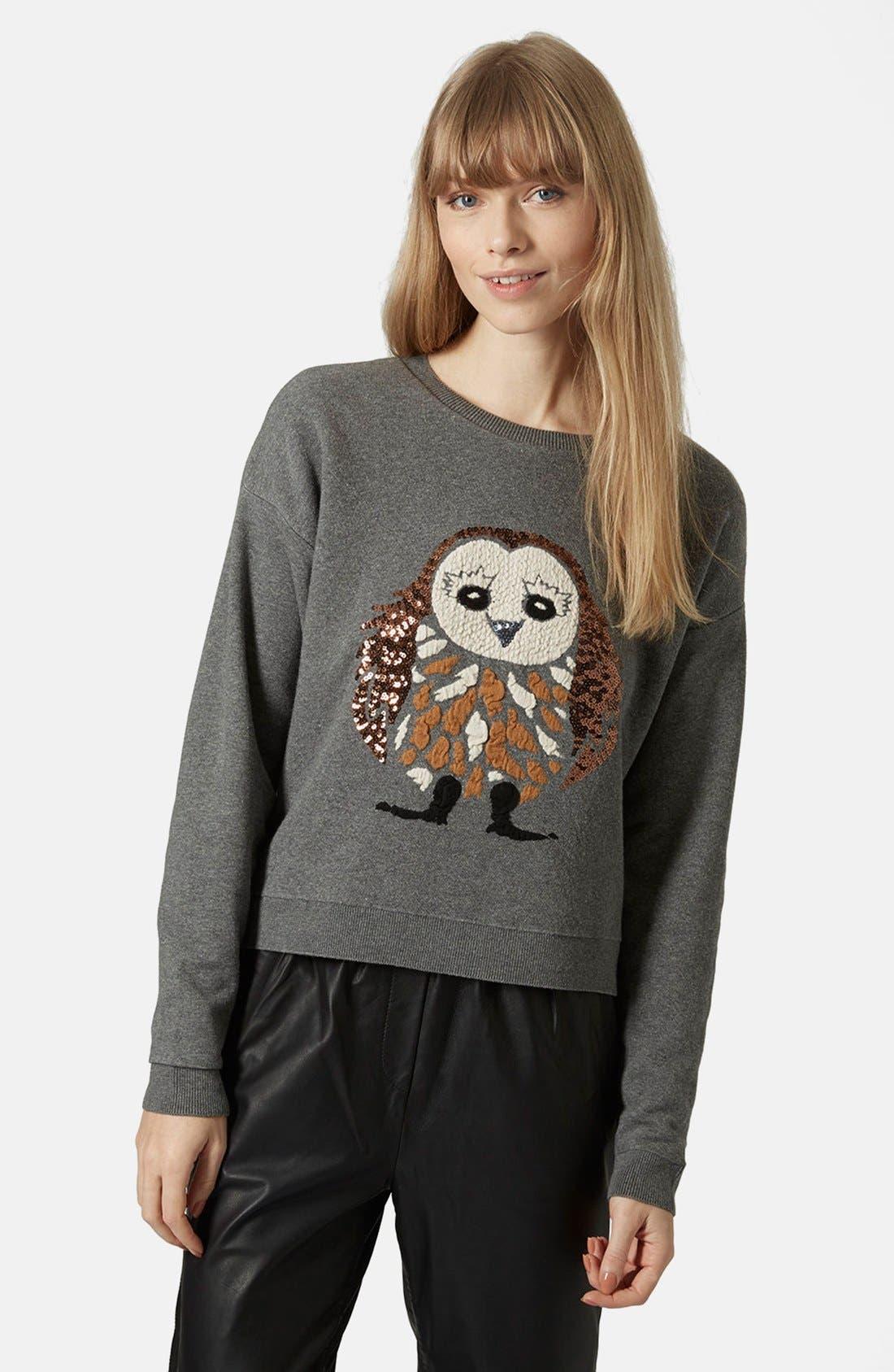 Main Image - Topshop Sequin Owl Sweater