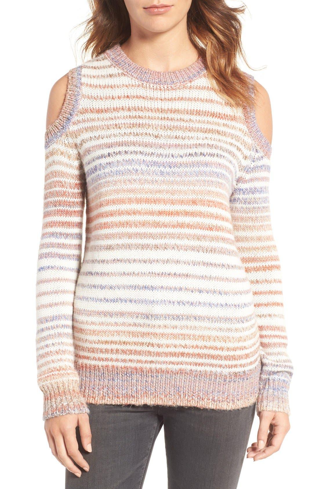 Alternate Image 1 Selected - Rebecca Minkoff Page Stripe Cold Shoulder Sweater