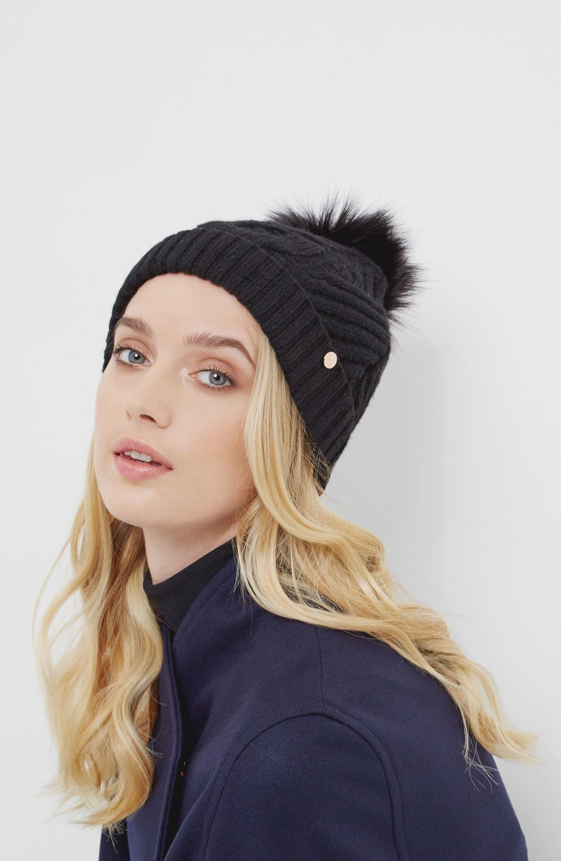 Alternate Image 2  - Ted Baker London Cable Knit Beanie with Faux Fur Pom
