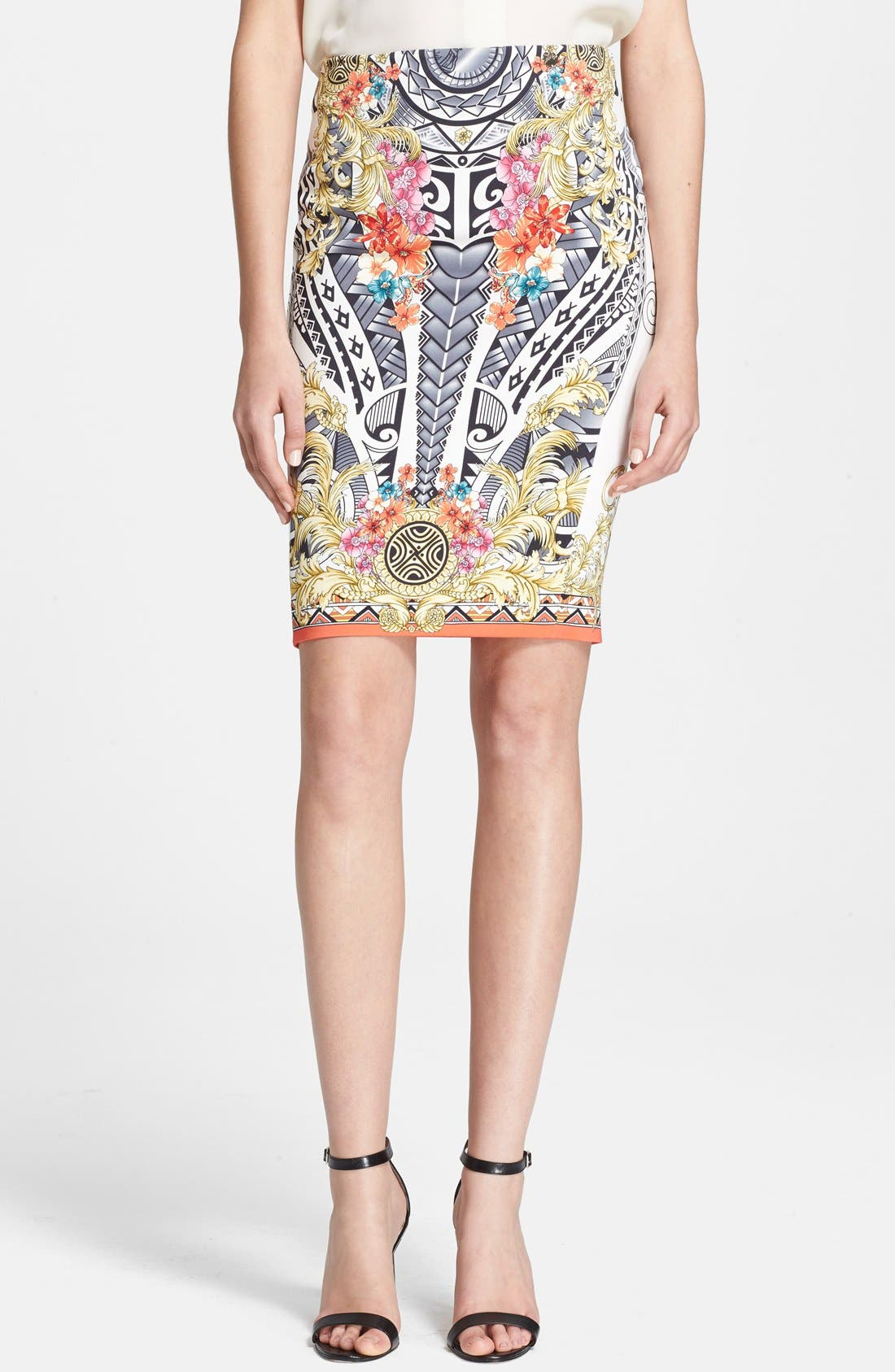 Main Image - Versace Collection Floral Print Jersey Skirt
